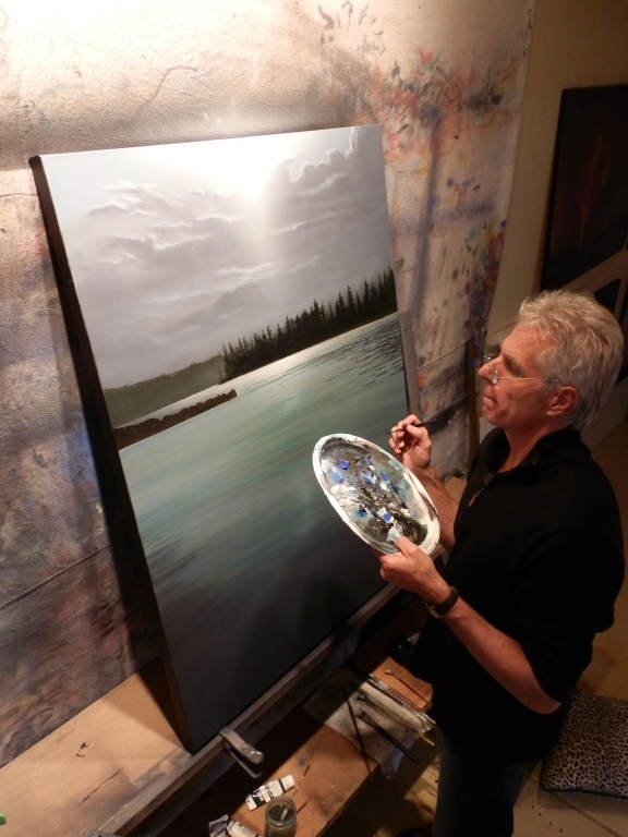 Robert working on his newest painting